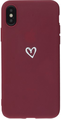 Coque iPhone X / Xs - Gel coeur rouge