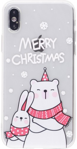 Coque iPhone X / Xs - Gel transparent Noël ours