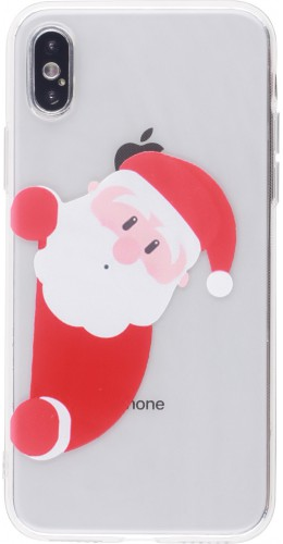 Coque iPhone X / Xs - Gel transparent Noël santa