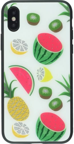 Coque iPhone X / Xs - Glass Exotic Fruits