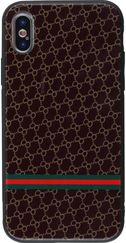 Coque iPhone X / Xs - Glass Italian pattern brun