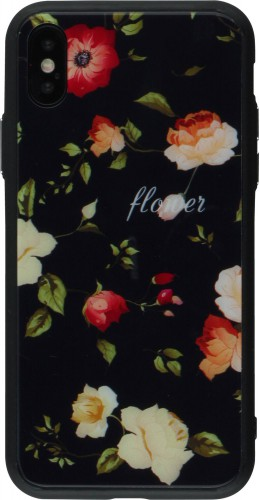 Coque iPhone XR - Glass flower noir