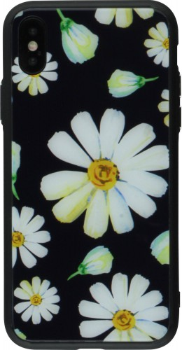 Coque iPhone XR - Glass marguerite