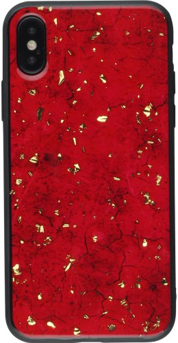 Coque iPhone XR - Gold Flakes Marble rouge