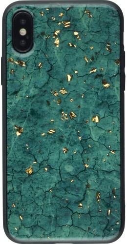 Coque iPhone X / Xs - Gold Flakes Marble vert