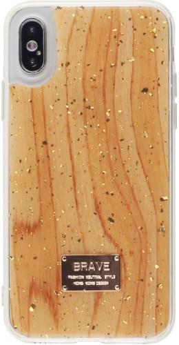 Coque iPhone X / Xs - Gold Flakes Brave bois clair