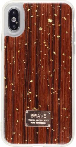 Coque iPhone X / Xs - Gold Flakes Brave bois foncé