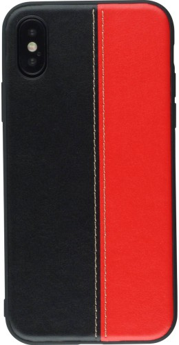 Coque iPhone X / Xs - Leather double Noir rouge