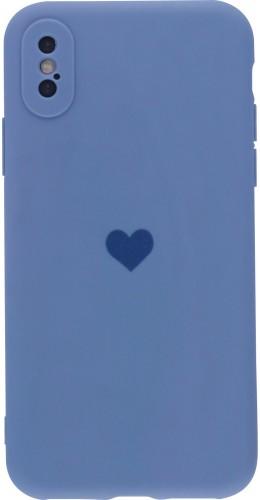 Coque iPhone X / Xs - Silicone Mat Coeur lavande