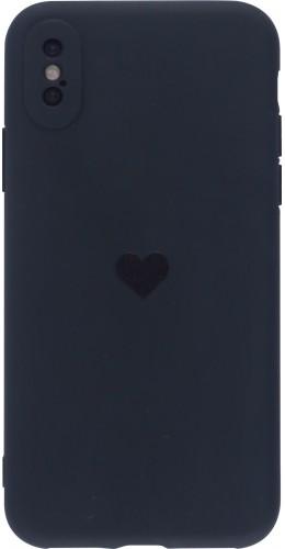 Coque iPhone X / Xs - Silicone Mat Coeur noir
