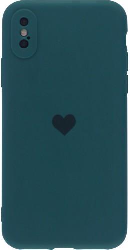 Coque iPhone X / Xs - Silicone Mat Coeur vert foncé