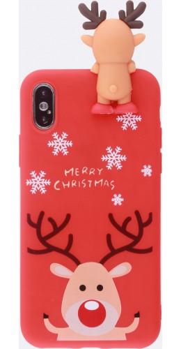 Coque iPhone Xs Max - Silicone Noël renne 3D