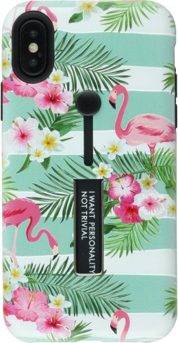 Coque iPhone X / Xs - Strap back flamants rose