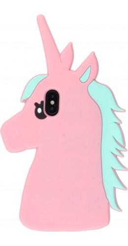Coque iPhone X / Xs - Tête de licorne 3D rose