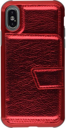 Coque iPhone X / Xs - Wallet Flip Metal rouge