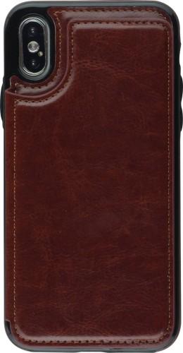 Coque iPhone X / Xs - Wallet Premium Cards brun