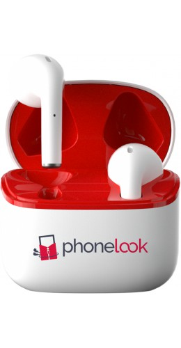 PhoneLook Pods - Ecouteurs Bluetooth 5.0 - Earpods avec microphone intégré + étui de chargement sans fil - Blanc