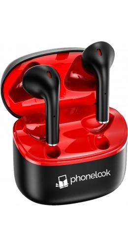 PhoneLook Pods - Ecouteurs Bluetooth 5.0 - Earpods avec microphone intégré + étui de chargement sans fil - Noir
