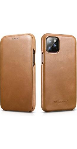 Etui cuir iPhone 11 - ICARER avec rabat brun clair