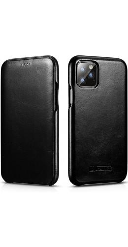 Etui cuir iPhone 11 Pro - ICARER avec rabat noir
