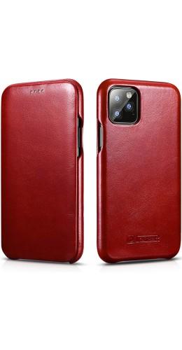 Etui cuir iPhone 11 - ICARER avec rabat rouge