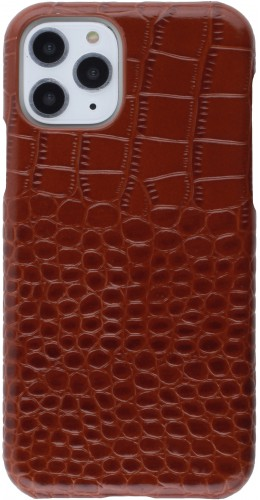 Etui cuir iPhone 11 - Luxury Crocodile brun