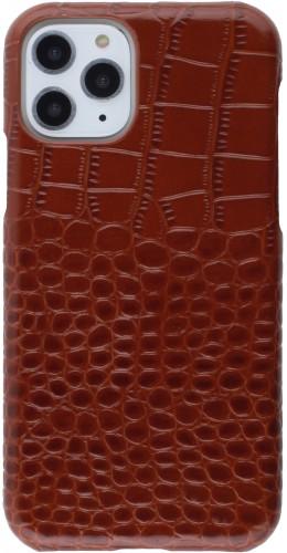 Etui cuir iPhone 11 Pro - Luxury Crocodile brun