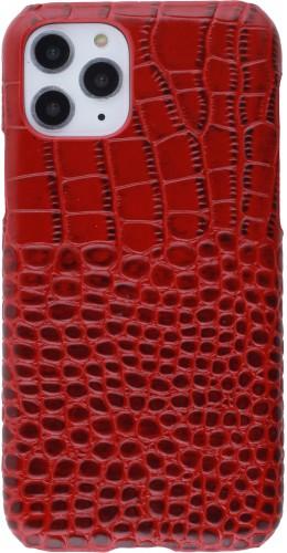 Etui cuir iPhone 11 Pro - Luxury Crocodile rouge