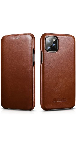 Etui cuir iPhone 11 Pro - ICARER avec rabat brun foncé
