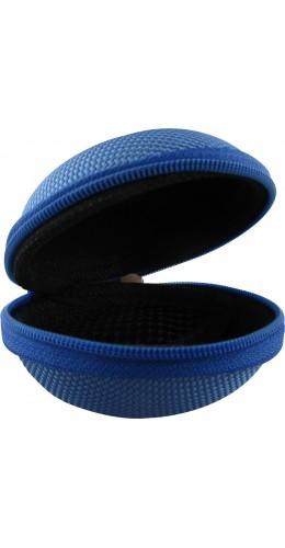 Etui de rangement zip rigide pour écouteurs bleu