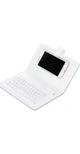 Étui universel pour smartphone avec clavier Bluetooth amovible blanc