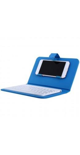 Étui universel pour smartphone avec clavier Bluetooth amovible bleu