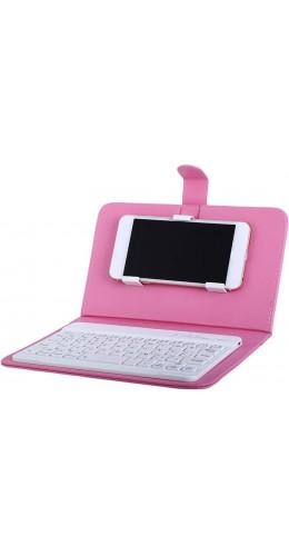 Étui universel pour smartphone avec clavier Bluetooth amovible rose clair