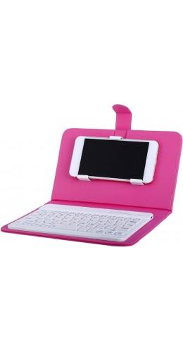 Étui universel pour smartphone avec clavier Bluetooth amovible rose foncé