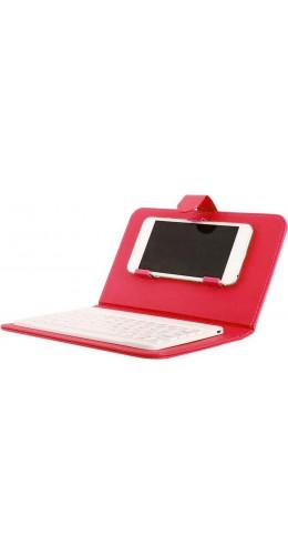 Étui universel pour smartphone avec clavier Bluetooth amovible rouge