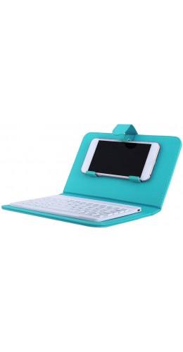 Étui universel pour smartphone avec clavier Bluetooth amovible turquoise