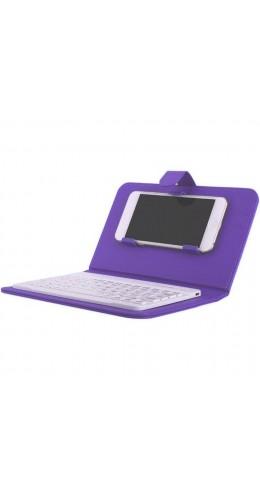 Étui universel pour smartphone avec clavier Bluetooth amovible violet