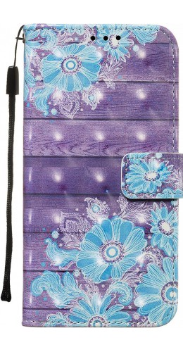 Fourre Samsung Galaxy S20+ - Flip 3D Bleu Flowers
