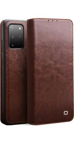 Fourre Samsung Galaxy S20 - Flip Qialino cuir véritable brun