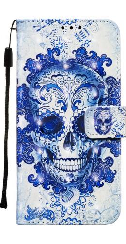 Fourre Samsung Galaxy S20 Ultra - Flip 3D Skull bleu clair