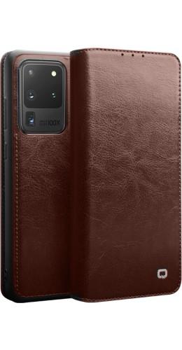 Fourre Samsung Galaxy S20 Ultra - Flip Qialino cuir véritable brun