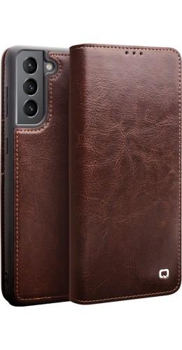 Fourre Samsung Galaxy S21+ 5G - Flip Qialino cuir véritable brun
