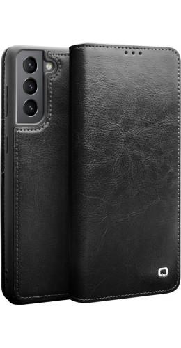 Fourre Samsung Galaxy S21 5G - Flip Qialino cuir véritable noir