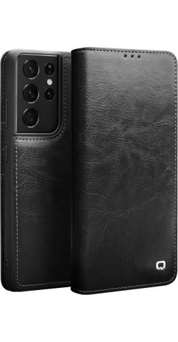 Fourre Samsung Galaxy S21 Ultra 5G - Flip Qialino cuir véritable noir