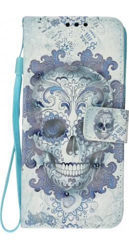 Fourre Samsung Galaxy S10 - 3D Flip Skull bleu clair