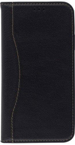 Fourre iPhone 11 - Flip Fierre Shann cuir véritable noir