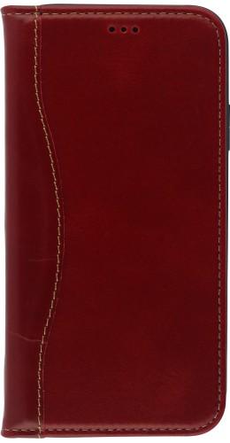 Fourre iPhone 11 - Flip Fierre Shann cuir véritable rouge