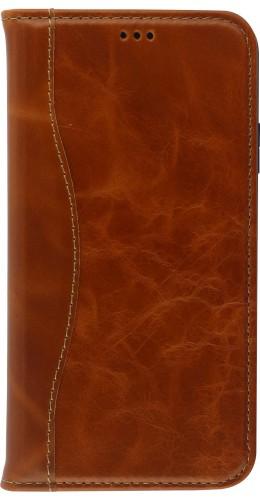 Fourre iPhone 11 Pro Max - Flip Fierre Shann cuir véritable brun