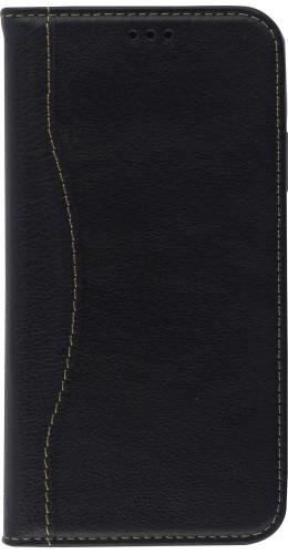 Fourre iPhone 11 Pro Max - Flip Fierre Shann cuir véritable noir