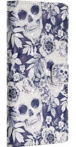 Fourre iPhone 11 - 3D Flip Skull bleu foncé